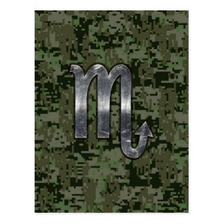 Silver Scorpio Zodiac Sign Woodland Digital Camo Postcard