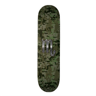 Silver Scorpio Zodiac Sign Woodland Digital Camo Skateboard Deck