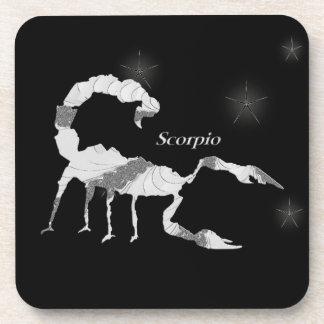 Silver Scorpio Zodiac Starry Night Coasters