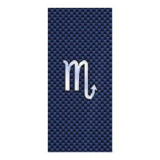 Silver Scorpio Zodiac Symbol Navy Carbon Fiber Magnetic Card