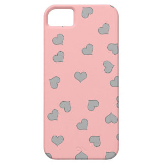 SILVER SCREEN MINI HEARTS on PINK iPhone SE/5/5s Case