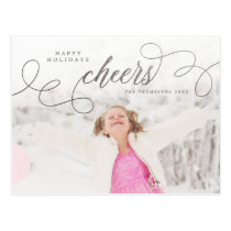 Silver Script Happy Holidays Personalized Photo Postcard