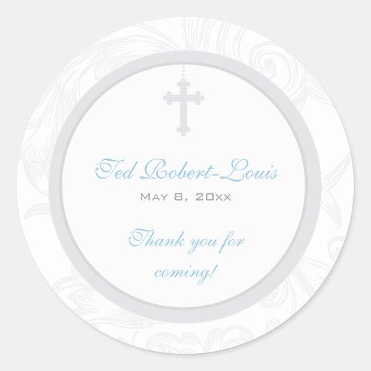 Silver Scroll Cross Address Label/Favor Sticker