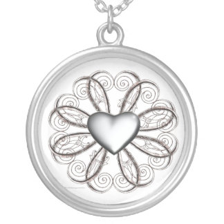 Silver Scroll Heart Necklaces