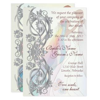 Silver Scroll Rainbow Bride & Groom Wed. Invite 2