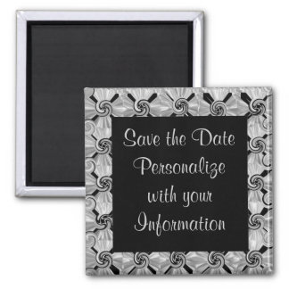 Silver Scroll Save the Date 2 Inch Square Magnet