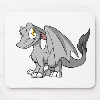 Silver SD Furry Dragon Mouse Pad