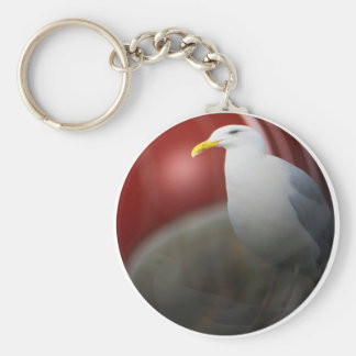 Silver sea gull basic round button keychain
