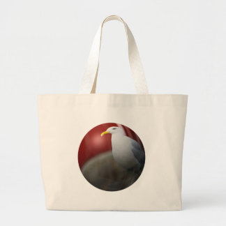 Silver sea gull large tote bag