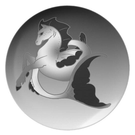 Silver Sea Horse Melamine Plate