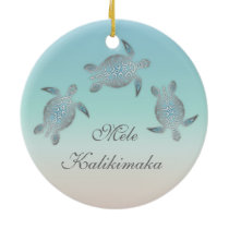 Silver Sea Turtle Animal Hawaiian Ceramic Ornament