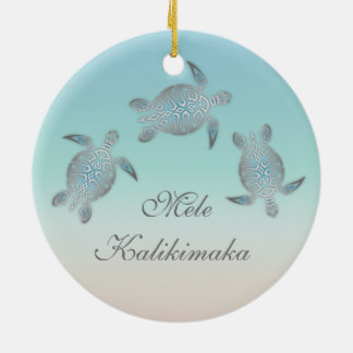 Silver Sea Turtle Animal Hawaiian Ceramic Ornament