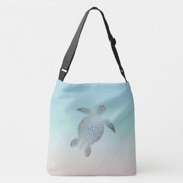 Beach Themed Silver Sea Turtle  Beach Style Crossbody Bag