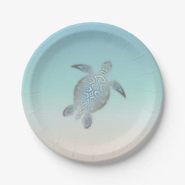 Beach Themed Silver Sea Turtle  Beach Style Paper Plate