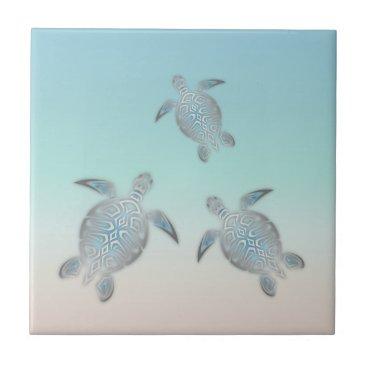 Beach Themed Silver Sea Turtle Beach Tile
