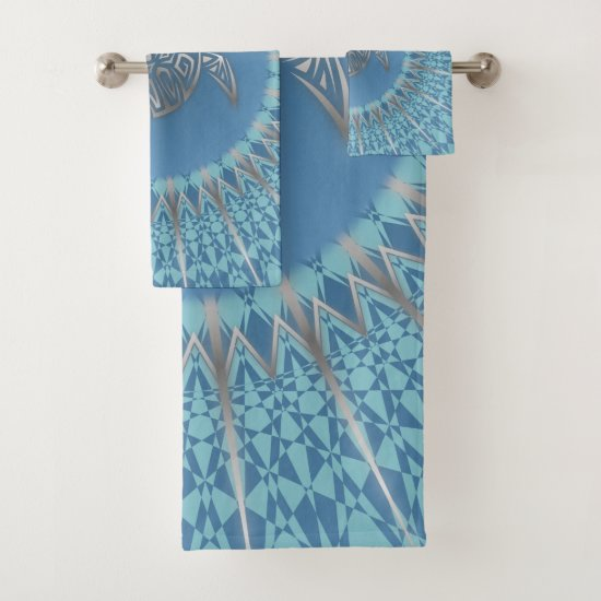 Silver Sea Turtle Blue Mandala Bath Towel Set