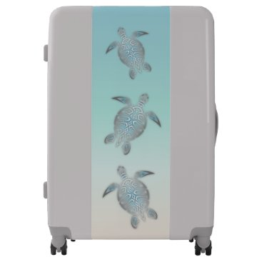 Beach Themed Silver  Sea Turtles Beach Style Luggage