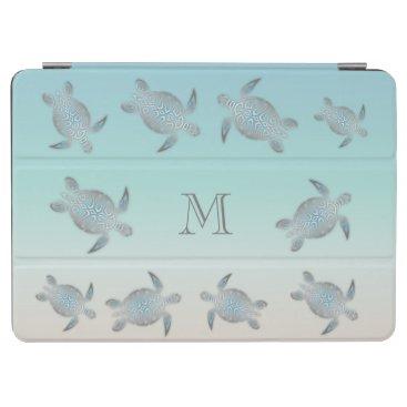 Beach Themed Silver Sea Turtles Beach Style Monogram iPad Air Cover