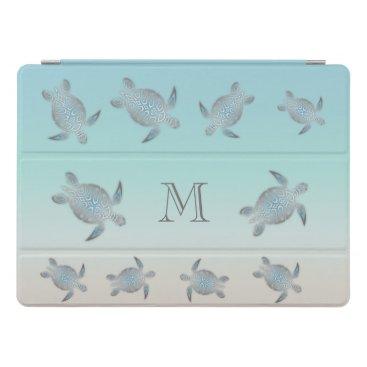 Beach Themed Silver Sea Turtles Beach Style Monogram iPad Pro Cover