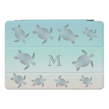 Hawaiian Themed Silver Sea Turtles Beach Style Monogram iPad Pro Cover