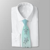 Silver Sea Turtles Beach Style Neck Tie