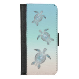 Silver Sea Turtles Blue Gradient Animal iPhone 8/7 Wallet Case