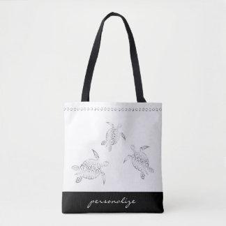 Silver Sea Turtles White Decorative Stripe Tote Bag