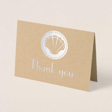 Beach Themed silver seashell - Thank you Foil Card