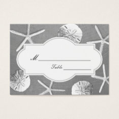 Silver Seashells Beach Wedding Place/seating Card at Zazzle