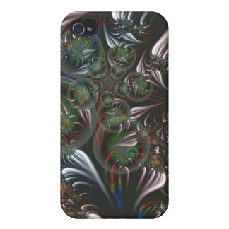 Silver Seedpods Green Circles Fringe Fractal Art Cover For iPhone 4