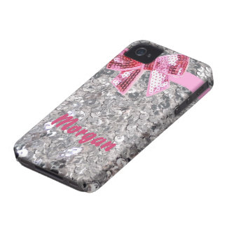 silver sequin and bow iphone case