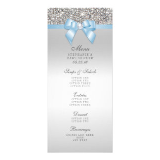 Silver Sequin Baby Blue Bow Baby Shower Menu