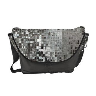 Silver Sequin Dazzle Glitz Glam Bag Tote Purse Messenger Bag