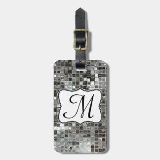 Silver Sequin Dazzle Glitz Monogram Luggage Tag