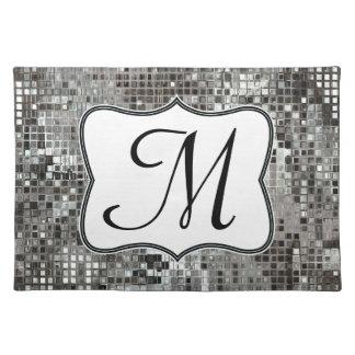 Silver Sequin Dazzle Monogram Initial Place Mat Cloth Placemat