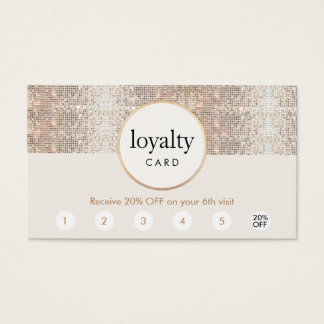 Silver Sequin Hair Salon 6 Punch Loyalty Business Card