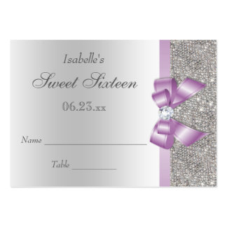 Silver Sequin Lila Bow Sweet 16 Seating Cards