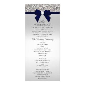 Silver Sequin Navy Blue Bow Wedding Program