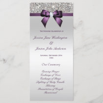 Silver Sequin Purple Bow Wedding Program