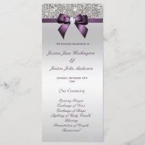 Silver Sequin Purple Bow Wedding Program
