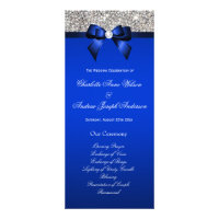 Silver Sequin Royal Blue Bow Wedding Program