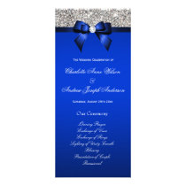 Silver Sequin Royal Blue Bow Wedding Program