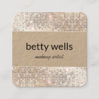 Silver Sequin Striped Makeup Artist Kraft Square Business Card