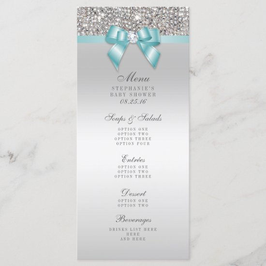 Silver Sequin Teal Bow Baby Shower Menu