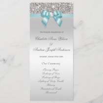Silver Sequin Teal Bow Wedding Program