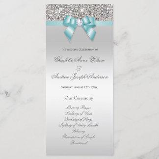 Silver Sequin Teal Bow Wedding Program