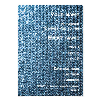Silver Sequins 5x7 Paper Invitation Card