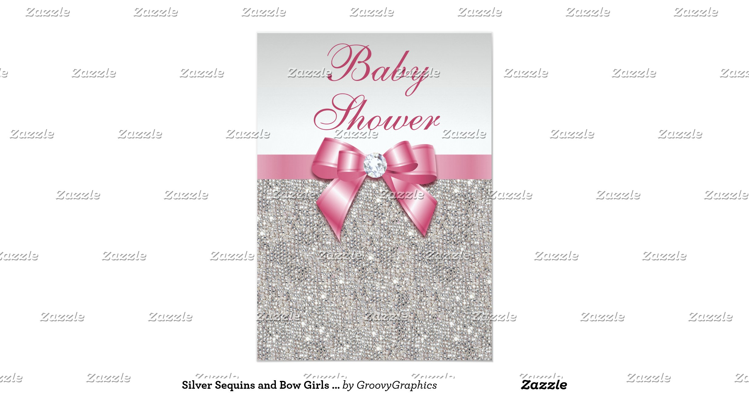 silver sequins and bow girls pink baby shower 5x7 paper invitation