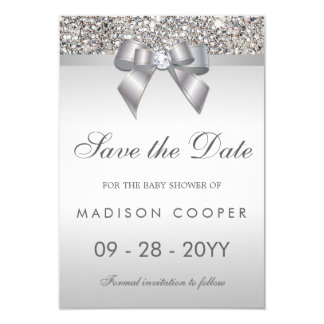 Silver Sequins Bling Bow Save The Date Baby Shower Card
