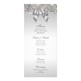 Silver Sequins Bow Baby Shower Menu